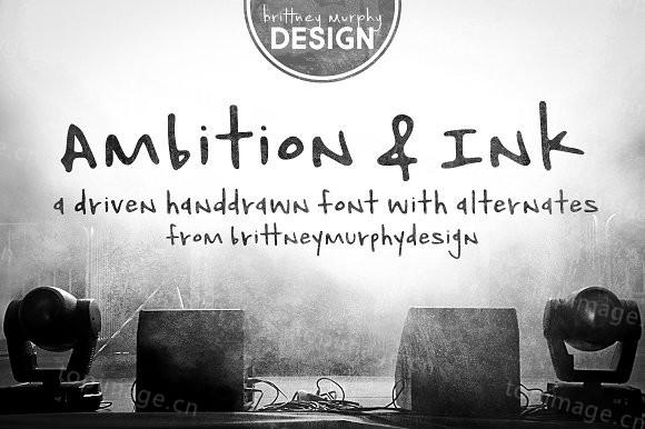 Ambition&ink手写手绘油性笔破损英文字体下载