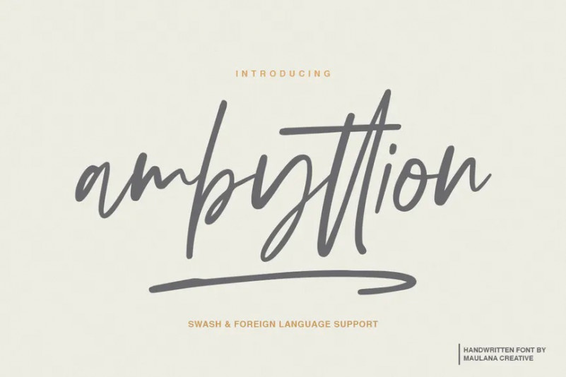 Ambyttion个性签名手写连笔英文字体下载