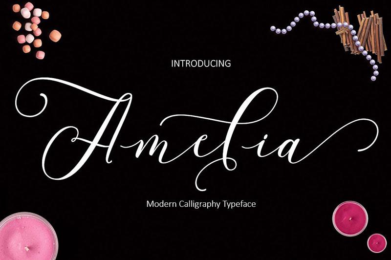 Amelia好看飘逸花式英文字体下载