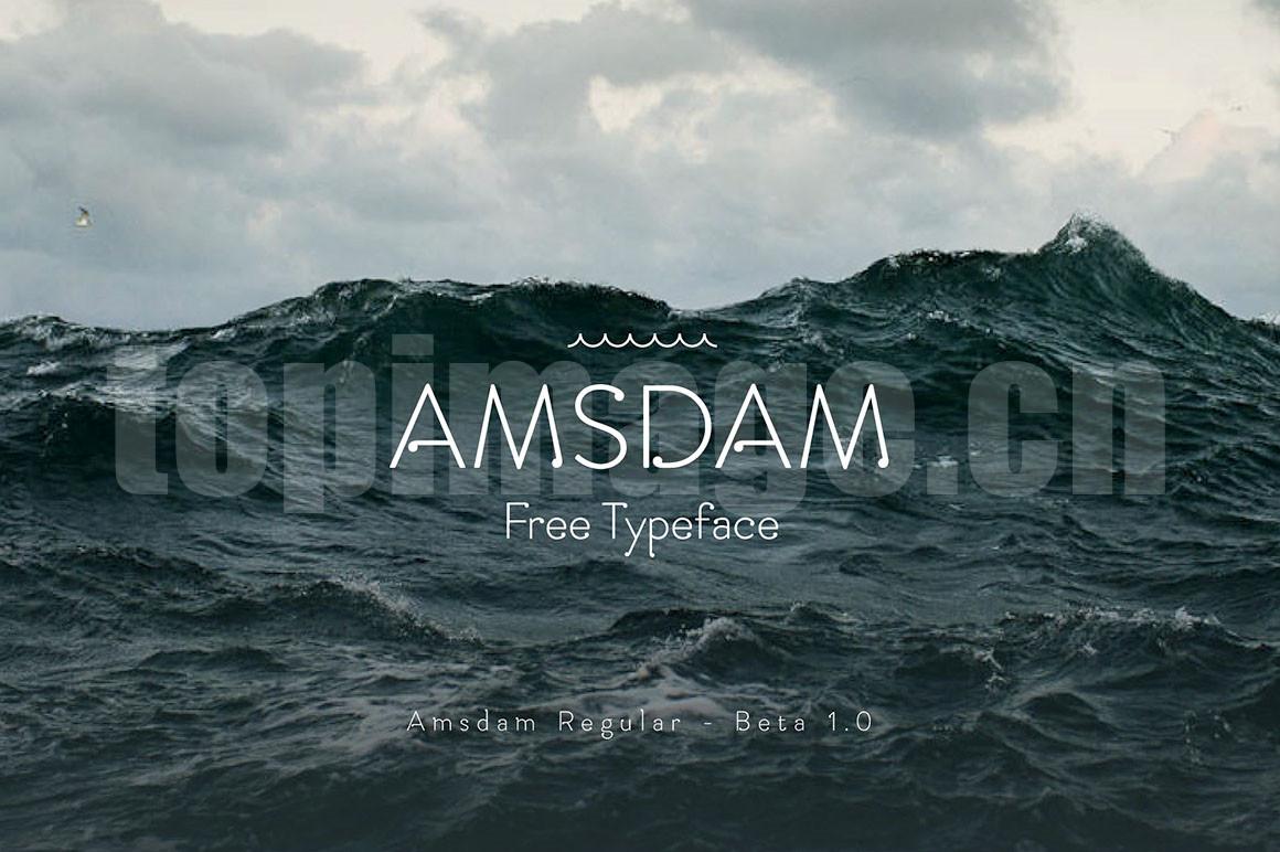 Amsdam时尚简约海报纤细logo现代英文字体下载