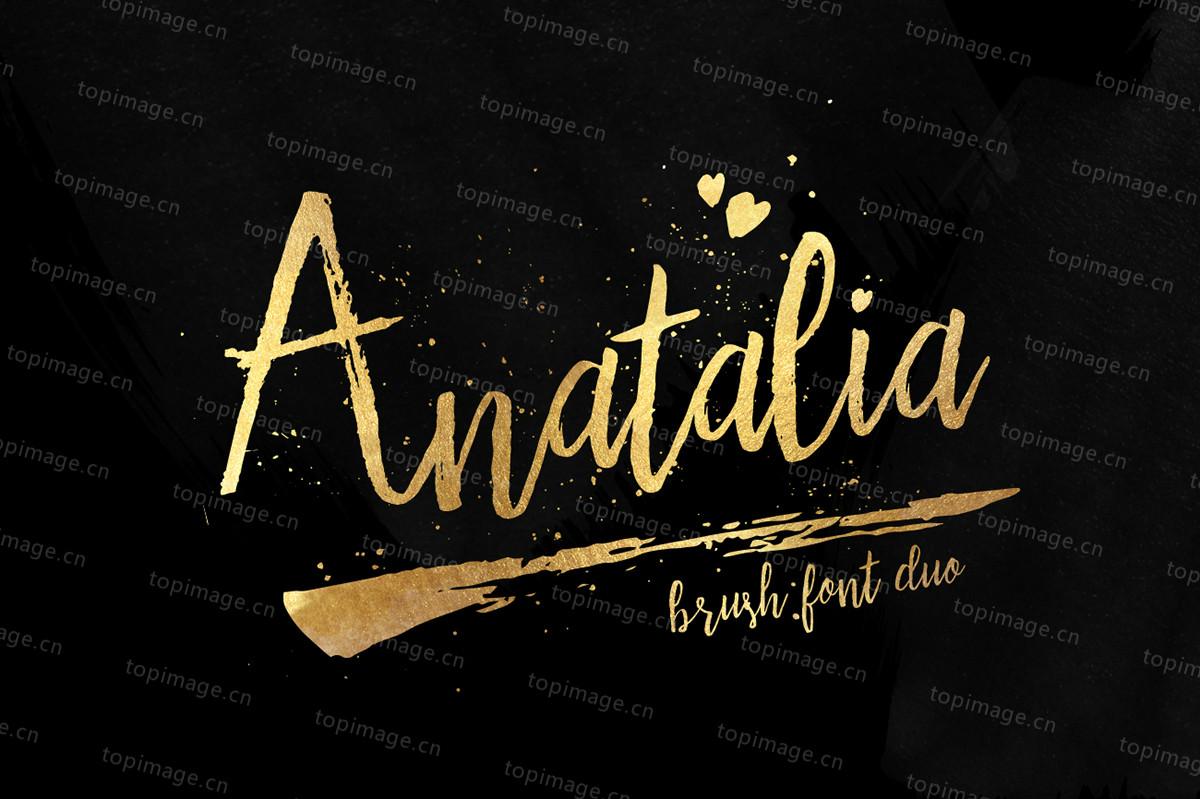 Anatalia手写书法大气笔刷海报英文字体下载