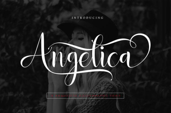 Angelica连笔花体婚礼logo设计英文字体下载