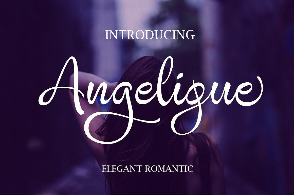 Angelique手写连笔婚纱摄影水印英文字体下载