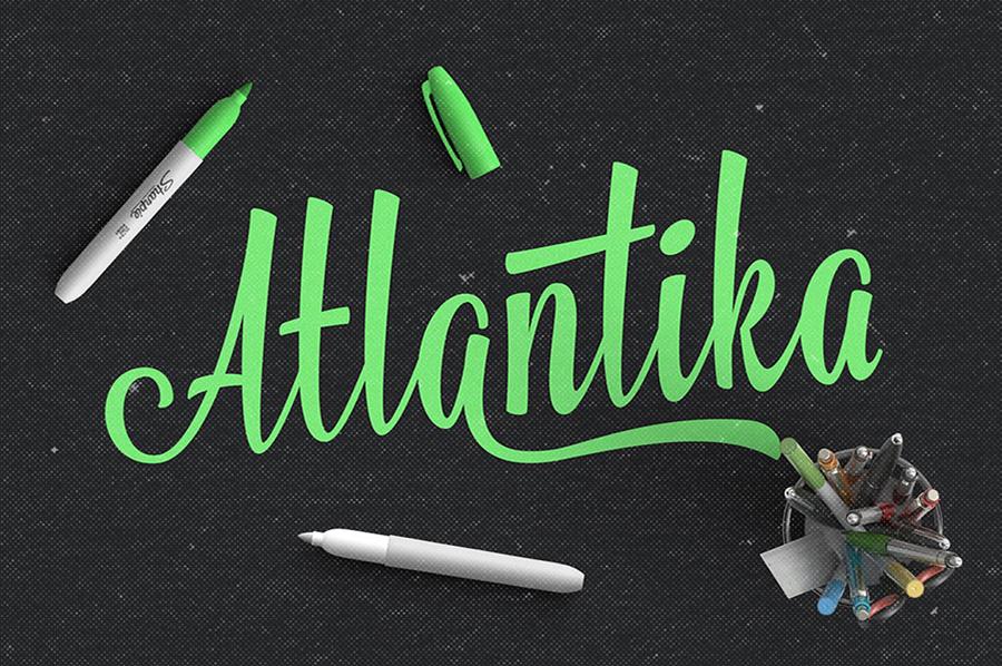 Atlantika现代手写涂鸦中性笔英文字体下载