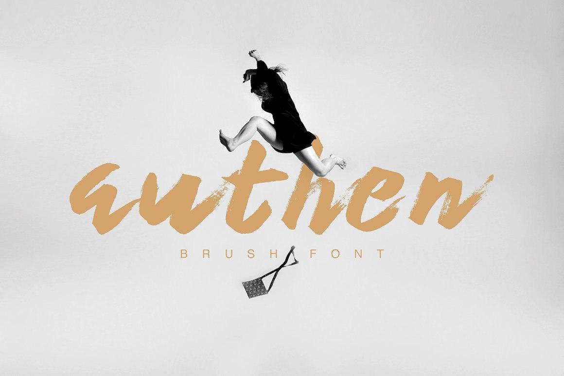 Authen书法手写笔触大气服装电商英文字体下载