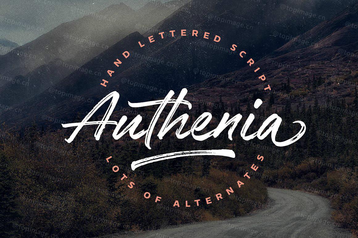 Authenia手写手绘毛笔好看的笔刷英文字体下载