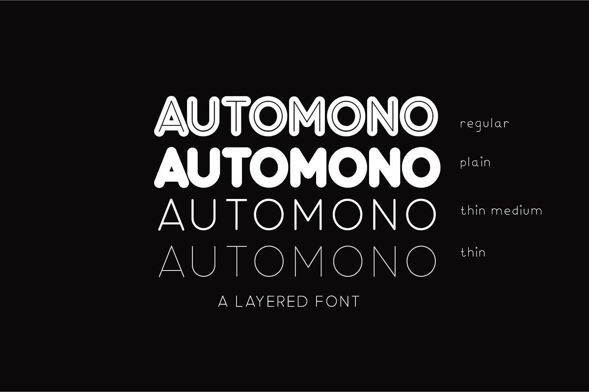 Automono现代无衬线圆润简洁logo英文字体下载