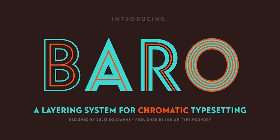 BaroFontFamily现代简洁创意logo家族英文字体下载