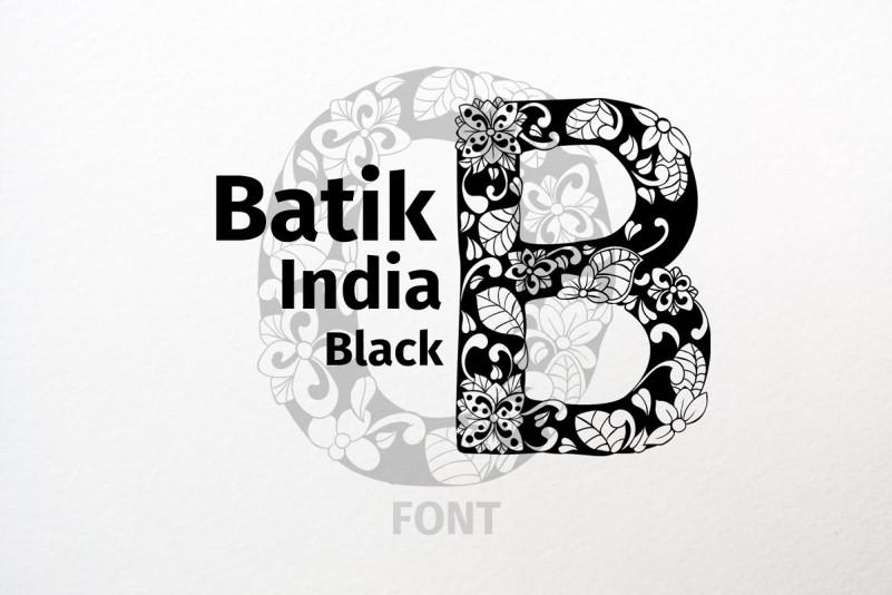 Batik India Black 无衬线个性花纹纹理现代英文字体下载