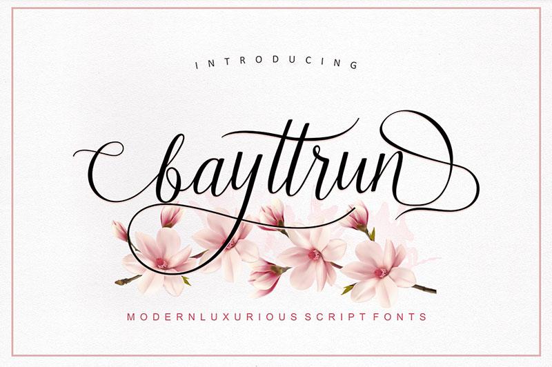 Bayttrun唯美婚礼海报手写花式英文字体下载
