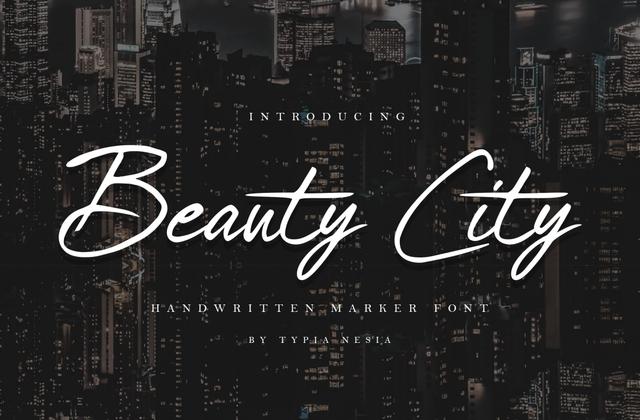 Beauty City 手写连笔大气时尚英文字体下载
