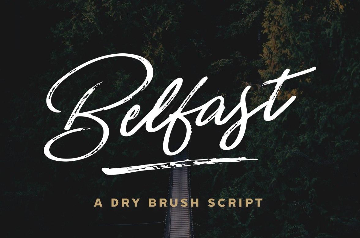 Belfast个性肌理笔刷手写海报英文字体下载