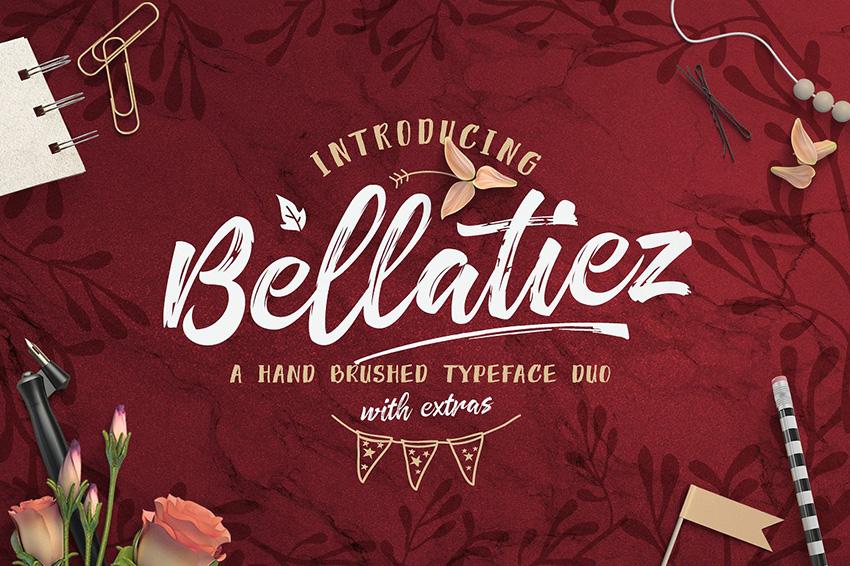 Bellatiez笔触书法连笔手写英文字体下载