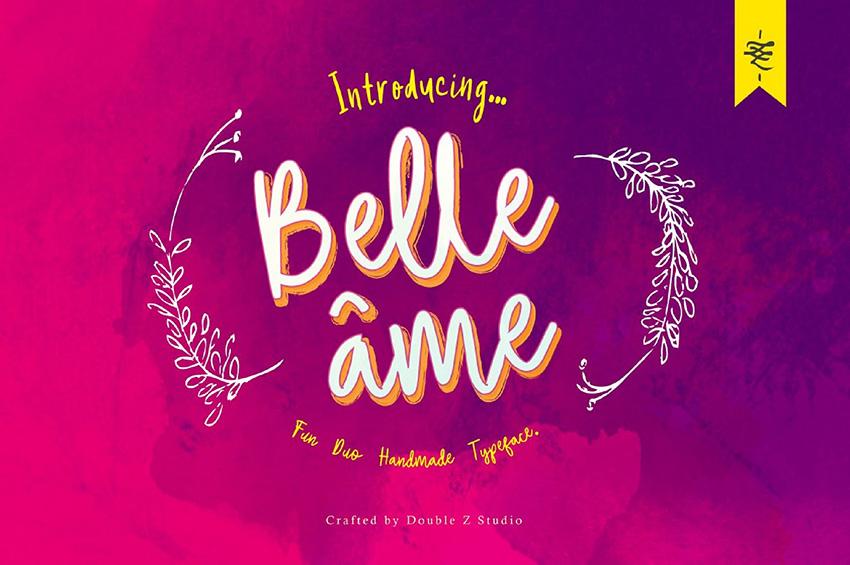 BelleAme手写可爱英文字体附带花卉矢量素材下载