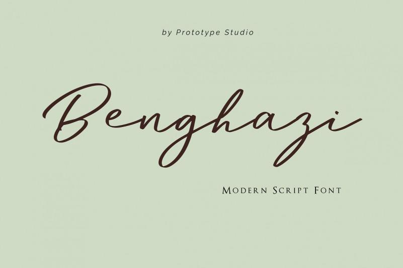 Benghazi帅气连笔手写签名英文字体下载