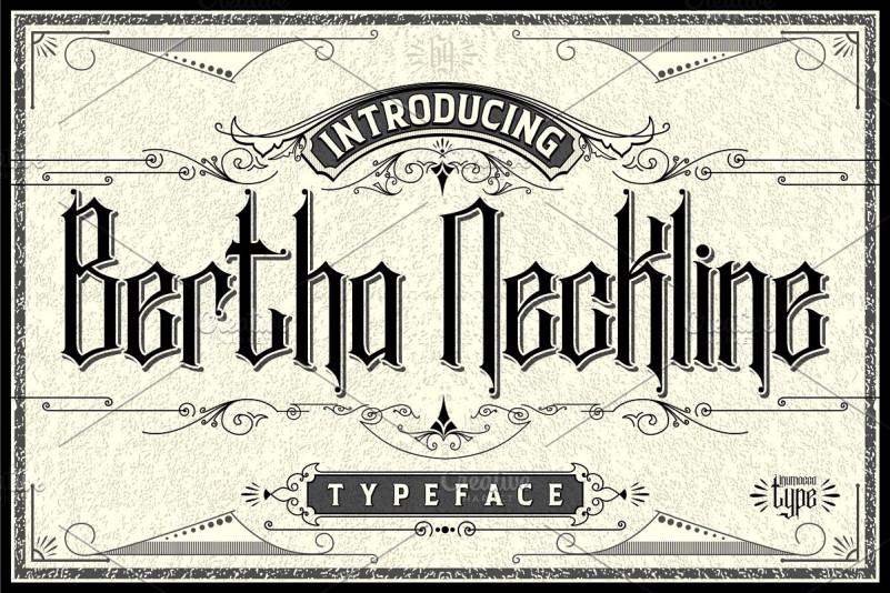 Bertha Neckline复古哥特纹身logo英文字体下载