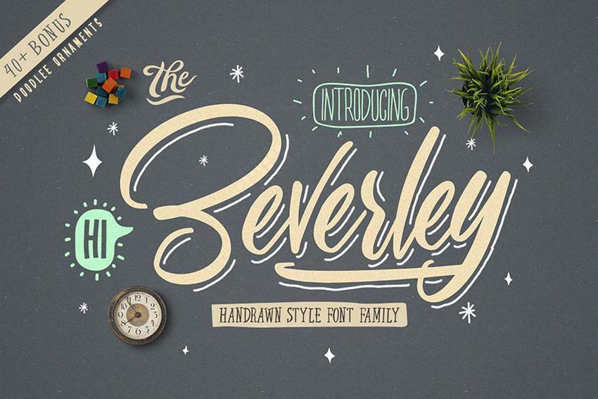 Beverley手写连笔时尚英文字体下载附带矢量素材
