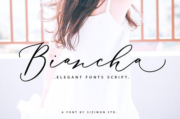 Biancha唯美摄影海报手写飘逸英文字体下载