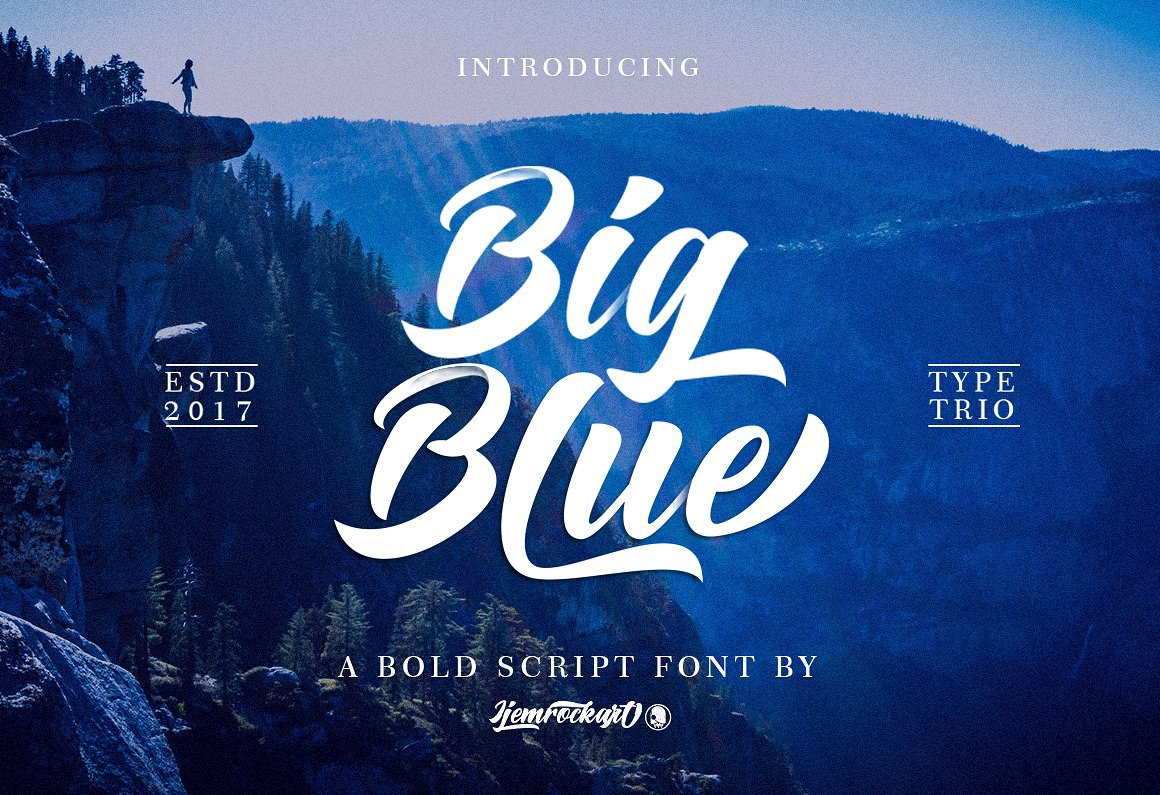 Big Blue手写连笔时尚英文字体下载