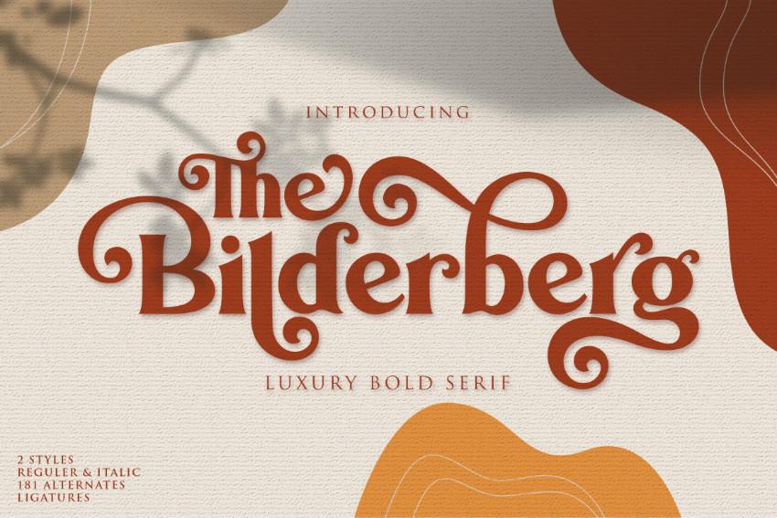 Bilderberg奢华花体衬线连笔飘逸线条英文字体下载