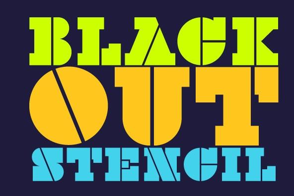 BlackOut现代衬线stencil英文字体下载