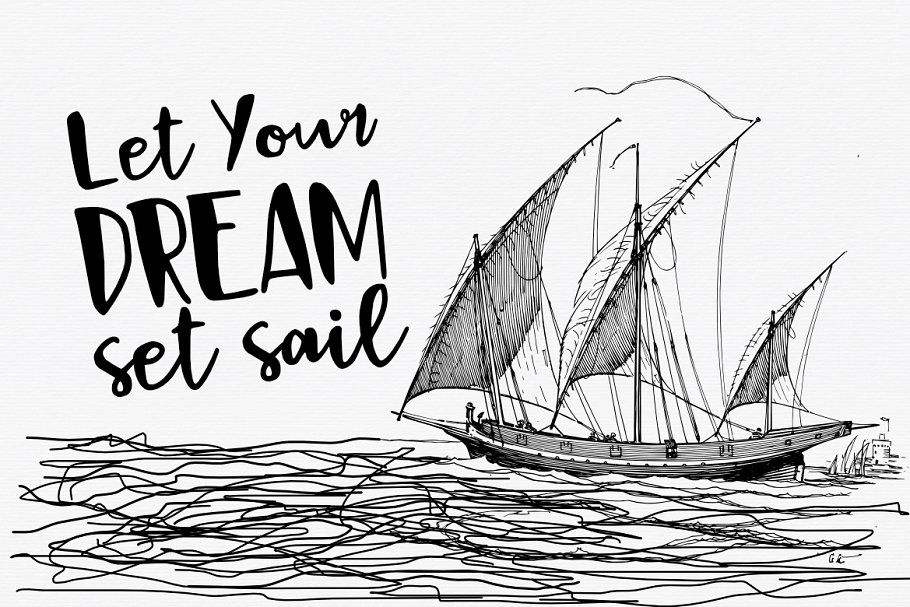 BlackSail可爱卡通手绘海报英文字体下载