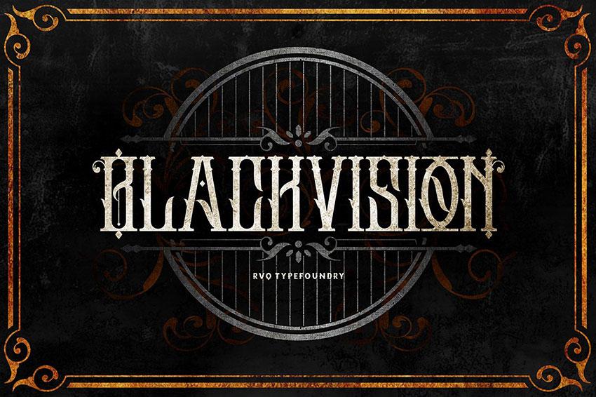Black vision哥特个性纹身英文字体下载