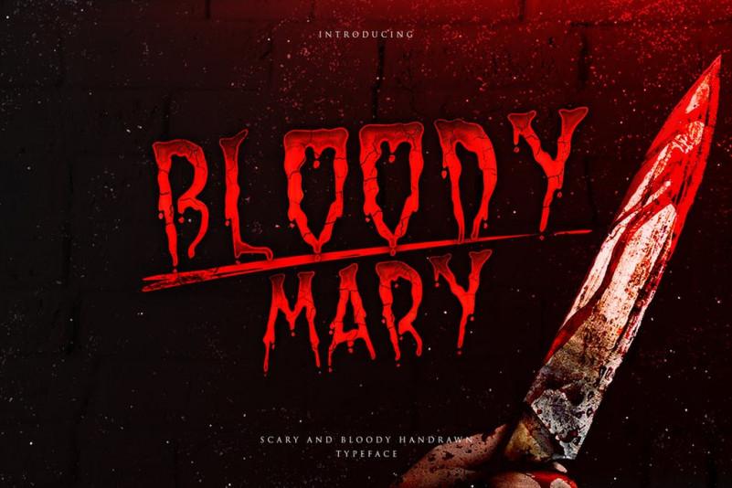 BloodyMary液体喷溅流淌街头涂鸦游戏英文字体下载