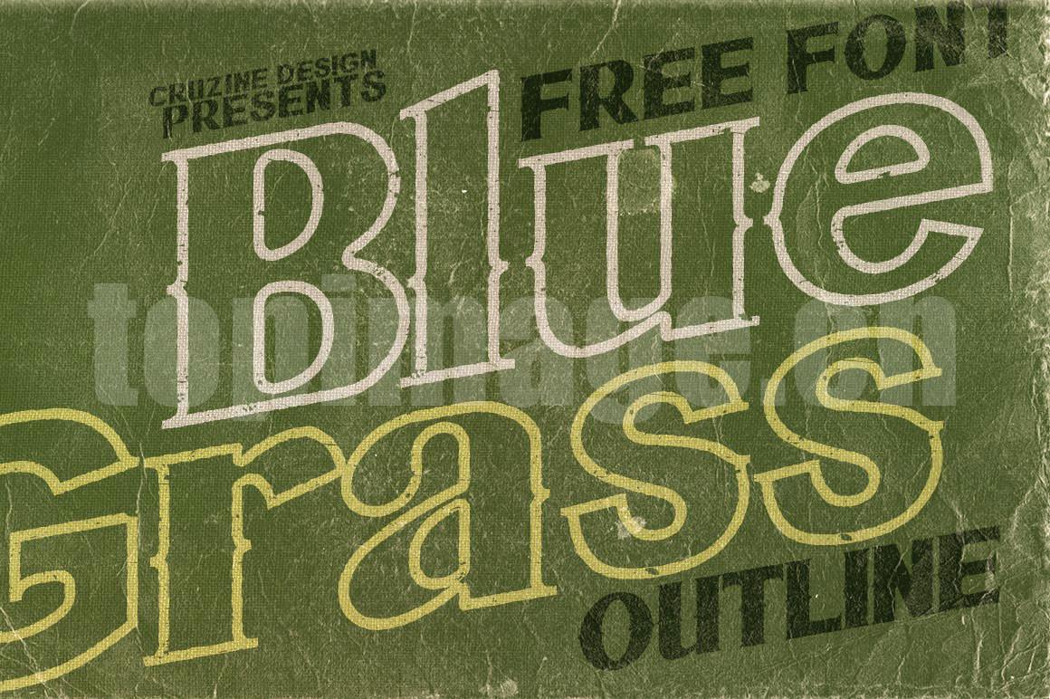 Bluegrass复古个性化描边艺术英文字体下载