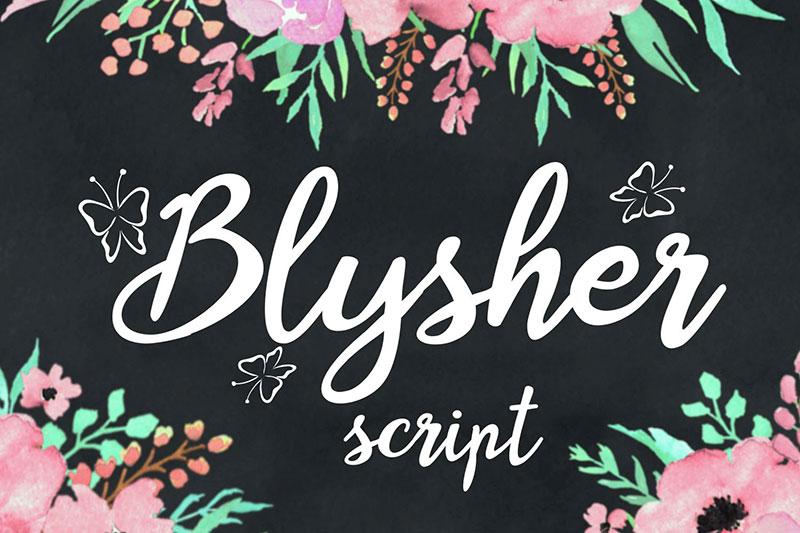 Blysher手写连笔婚礼英文字体下载