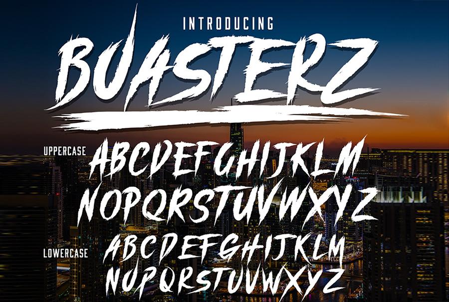 Boasterz破损笔触街头涂鸦个性英文字体下载