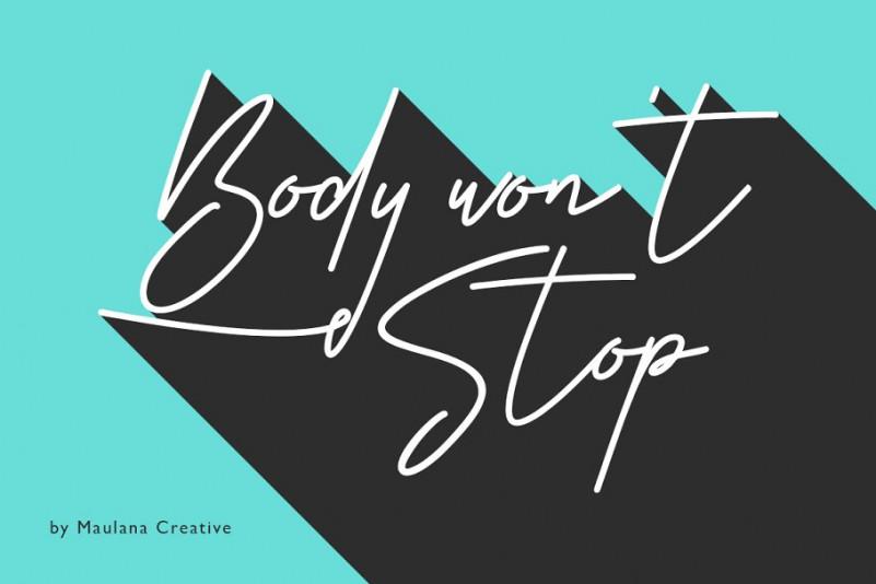 Body Wont Stop连笔手写英文字体下载