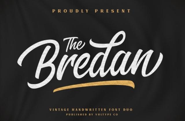Bredan手写手绘连笔时尚英文字体大全下载