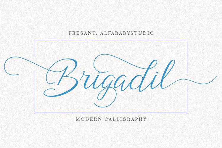 Brigadil花体婚礼英文字体连笔下载