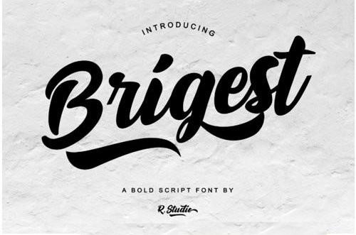 Brigest手写连笔服装英文字体下载
