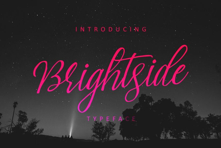 Brightside手写复古破损纹理英文字体下载