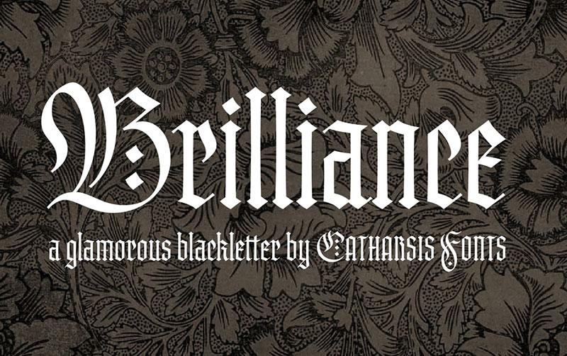 Brilliance哥特纹身设计复古英文字体下载