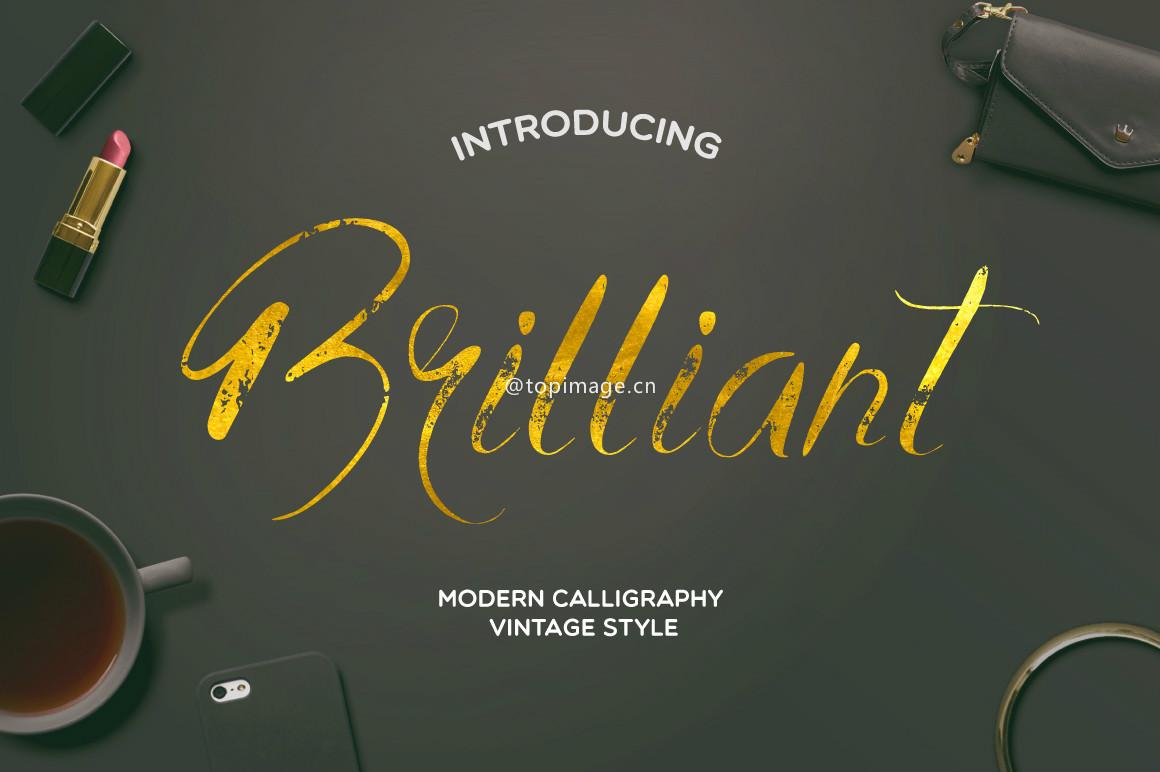 BrilliantVintage高端时尚品牌手写英文字体下载(含破损肌理字体)