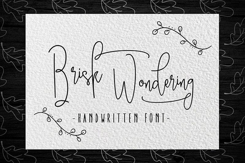 Brisk wondering手写卡通连笔英文字体下载