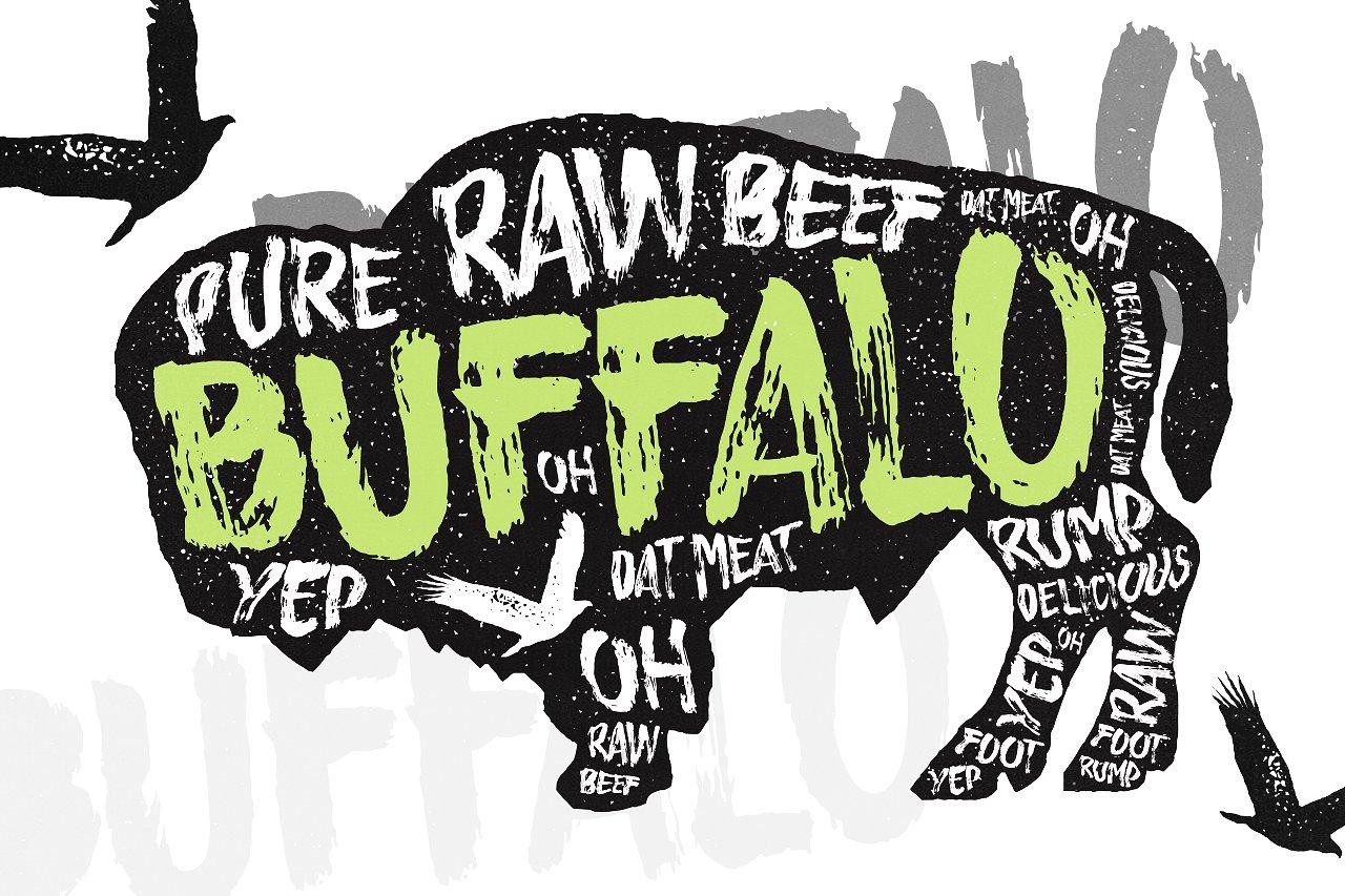 Buffalo手绘涂鸦文化衫创意英文字体下载