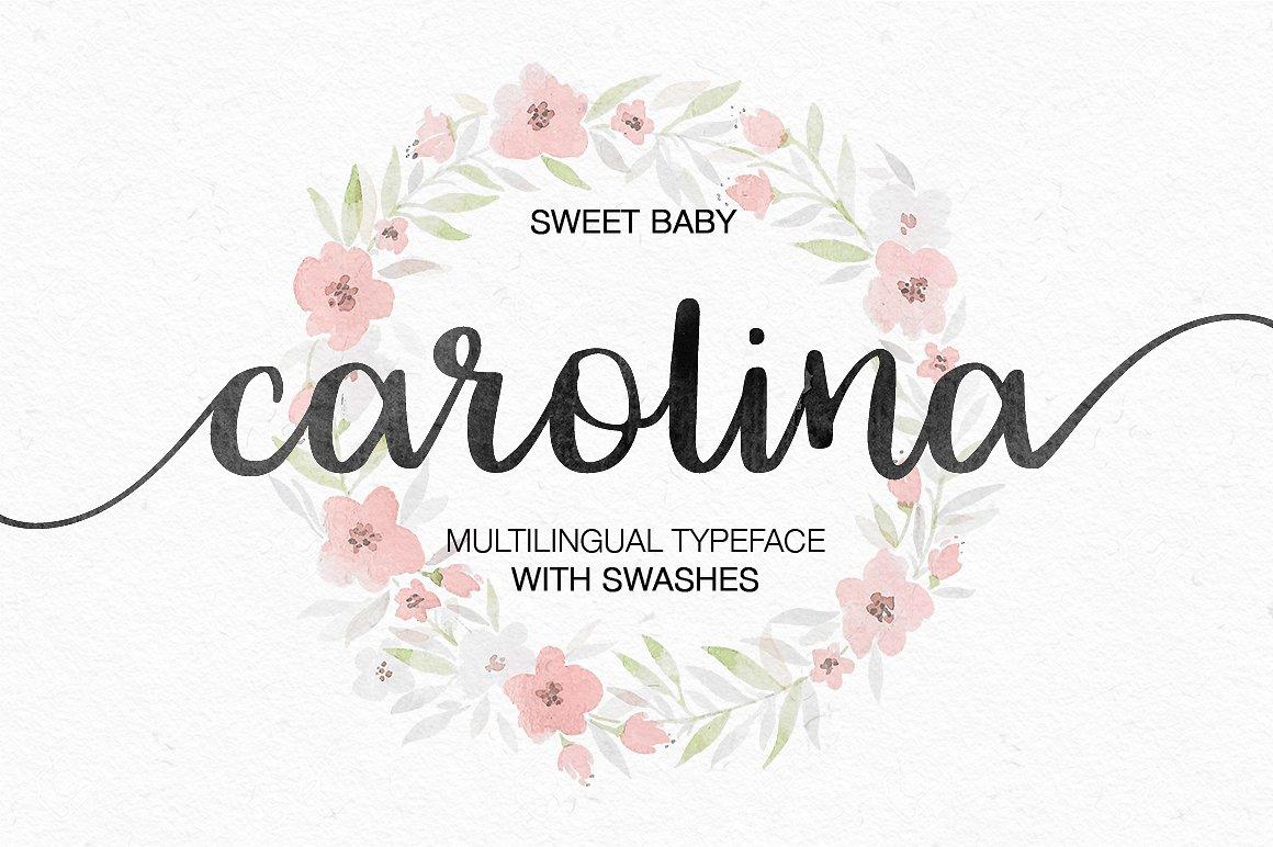 Carolina手写连体飘逸花式婚纱海报英文字体下载