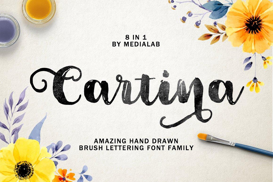 Cartina手写连体创意个性花式海报英文字体下载