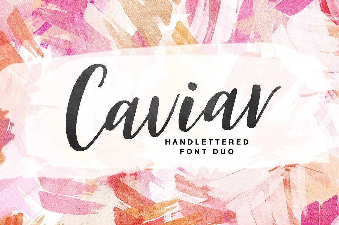 Caviar创意手写连体时尚海报英文字体下载