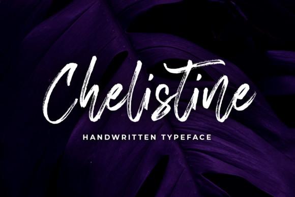 Chelistine手写书法笔刷笔触英文字体下载