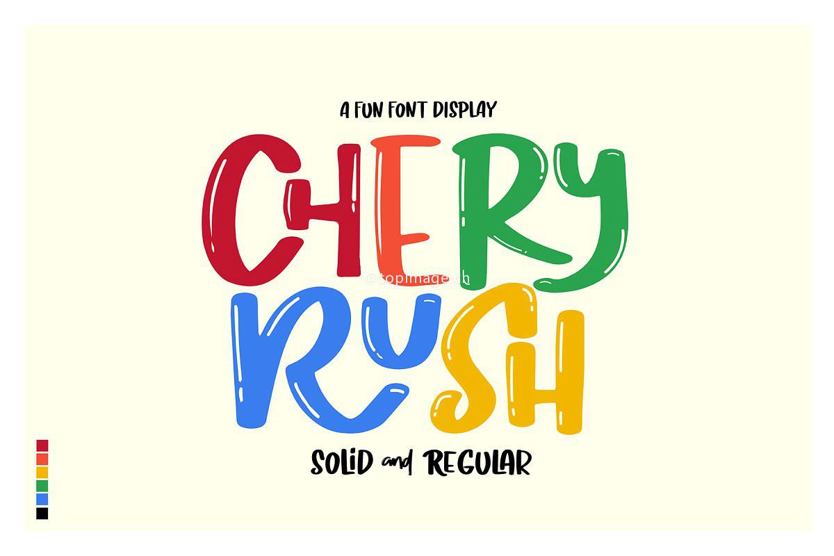 CherryRush卡通趣味pop手写手绘英文字体下载(含图中2种字体)