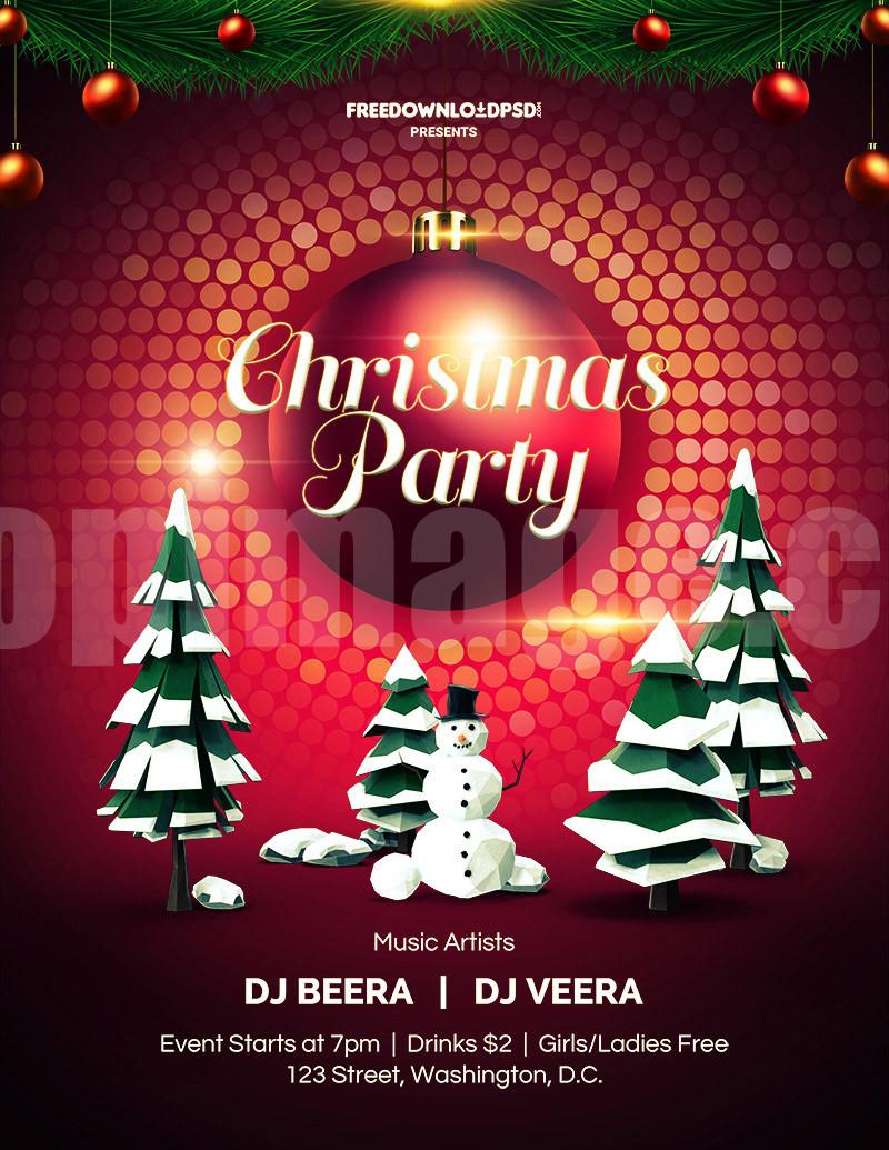 Christmas圣诞节单页海报聚会party素材源文件psd下载