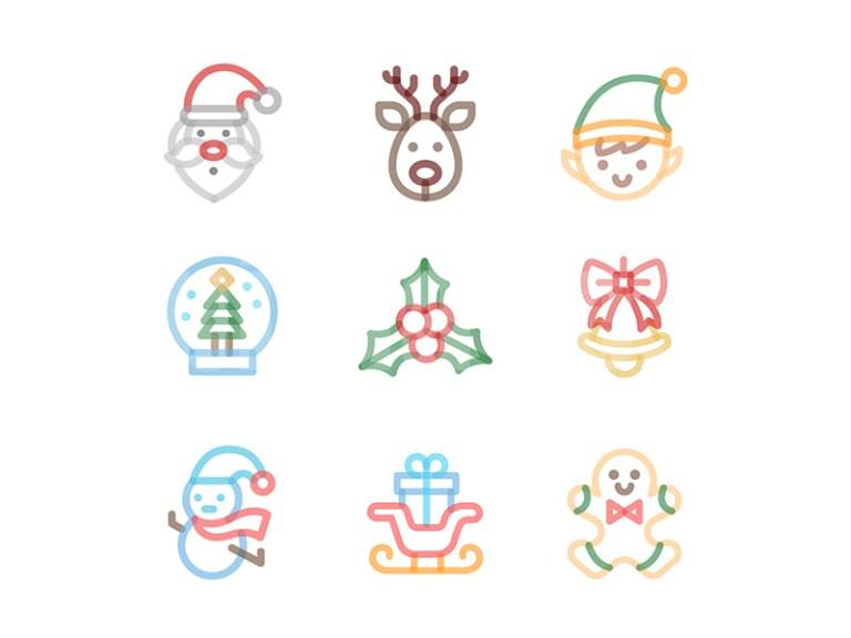 Christmas圣诞节 icon 雪人 礼物 麋鹿 圣诞老人 铃铛图标下载