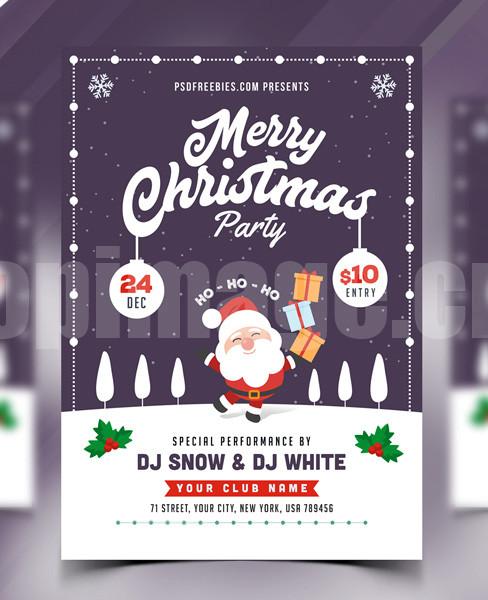 Christmas圣诞节卡通圣诞老人礼物聚会party海报促销psd下载