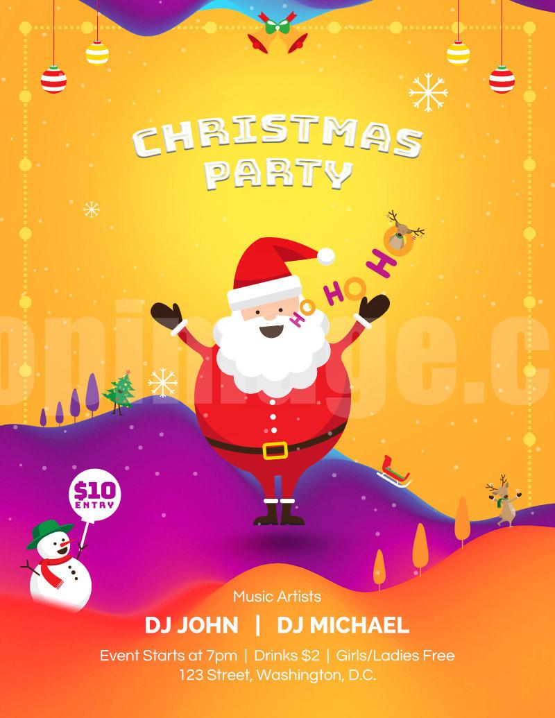 Christmas圣诞节卡通圣诞老人促销海报psd下载