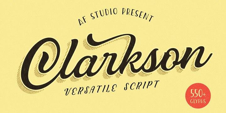 ClarksonScript餐饮海报logo手写连笔英文字体下载